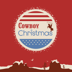 American cowboy christmas poster