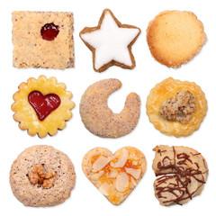 Verschiedene Kekse, isoliert