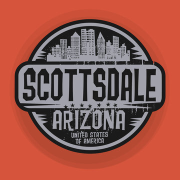 Stamp or label with name of Scottsdale, Arizona