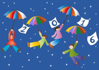 buon anno con bambini e ombrelli