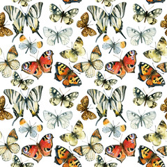 Beautiful watercolor butterflies seamless pattern