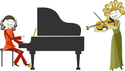 Musicien, duo de violon et piano