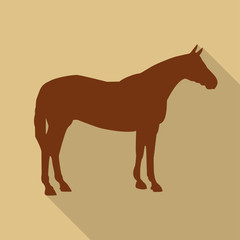 Icon horse in brown color in a flat design. Vector illustration