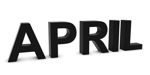 APRIL Black 3D Month Text Isolated on White