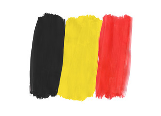 Belgian flag painted with gouache