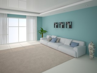 Contemporary living room with sofa.