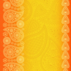Floral  paisley background with place for your text. Bright orange colors. Vector illustration