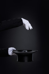 Wall Mural - Magicianˈs hands in white gloves with top hat