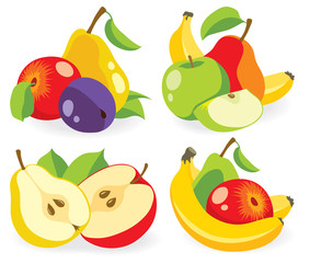 Various fresh fruits vector collection