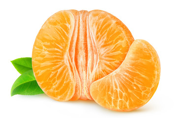 Half of peeled tangerine or orange isolated