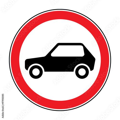 No Car Road Sign Prohibit Icon Not Allowed Automobile Symbol