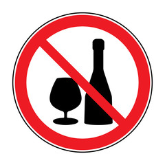No alcohol drinks icon. Prohibits sign. Not allowed alcoholic. Black silhouette in red round isolated on white background. Forbidden warning symbol. Vector illustration