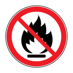 No Fire sign. Prohibits danger open flame icon. Black silhouette in red round isolated on white background. Forbidden warning flame symbol. Vector illustration
