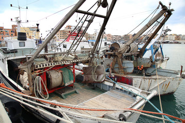 Panoramic view of port Anzio, with the fishing boats and fishing