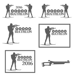 Set logos winter sports biathlon in different versions