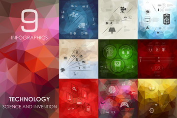 technology infographic with unfocused background