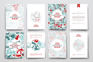 Set of brochure, poster design templates in Christmas style