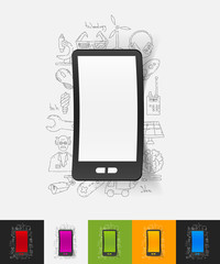 smartphone paper sticker with hand drawn elements