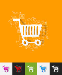 shopping paper sticker with hand drawn elements