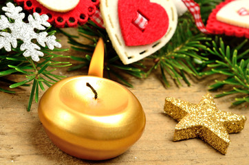 Christmas decoration with candle burning