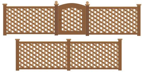 Wooden trellis lattice fence and gate vector.