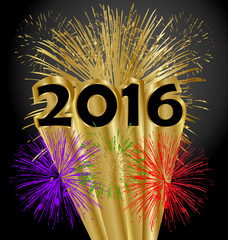 Happy new year 2016 fireworks in gold background