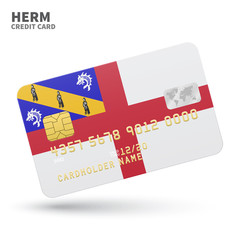 Credit card with Herm flag background for bank, presentations and business. Isolated on white