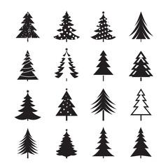 Set of black Christmas Tree. Vector Illustrations.