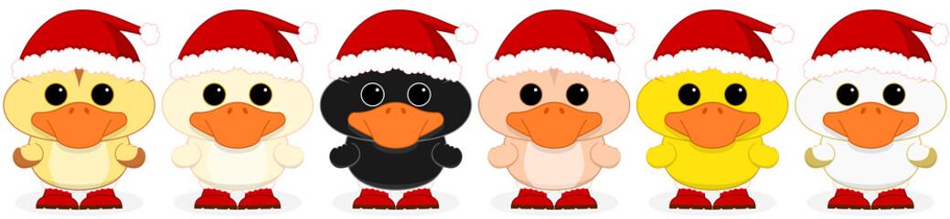 Six little Santa ducks tiled