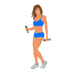 Cute fitness woman isolated on white background, flat vector illustration