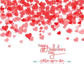 Happy Valentine's day card hearts light background