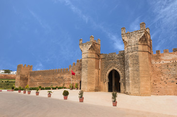 The gate of Chellah which is the world heritage in Rabat with bl
