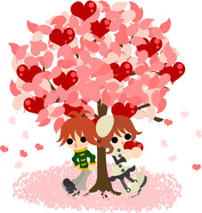 Man and woman stands still under the mysterious tree that bears heart fruits.