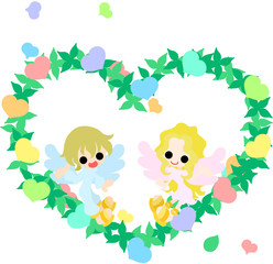 Two pretty angels and the colorful heart wreath.