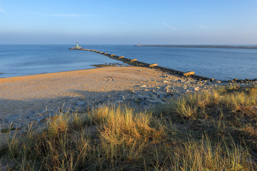 Preview Save to a lightbox  Find Similar Images  Share Stock Photo: Mouth of the river Vistula in Gdansk. Beautiful rocky breakwater