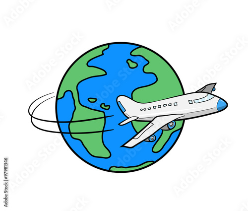 Travel Around The World A Hand Drawn Vector Illustration Of An Airplane Flying