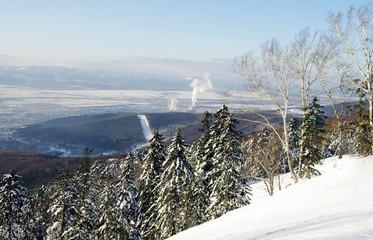 "Yuzhno-Sakhalinsk, Sakhalin Island. View from the ski-run sports and technical complex ""Mountain Air"""