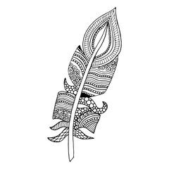 Artistically drawn, stylized, vector feather on a white background. Vintage tribal feather - doodle feather.
