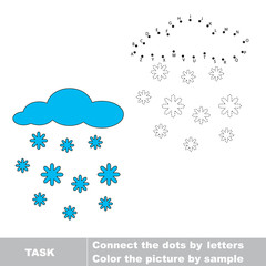 Snowfall to be traced. Vector letters game.