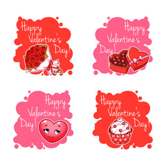 Set of four badge for Valentine's Day.