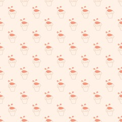 Valentine's day seamless pattern with cakes. Vector illustration
