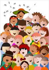 coro di bambini da tutto il mondo