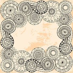Pattern with flowers. Ornate zentangle texture with abstract flowers. Pattern can be used for wallpaper, pattern fills, web page background, surface textures.