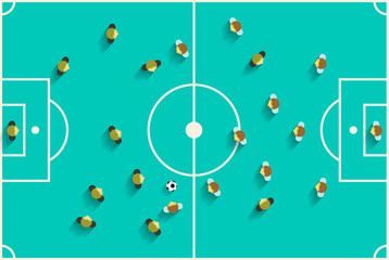 Top View Football Playground with Players Vector Retro Flat Design Illustration