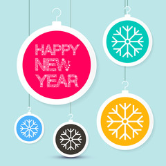 Happy New Year Title - Vector Snowflakes Slogan on Colorful Paper Cut Xmas Balls