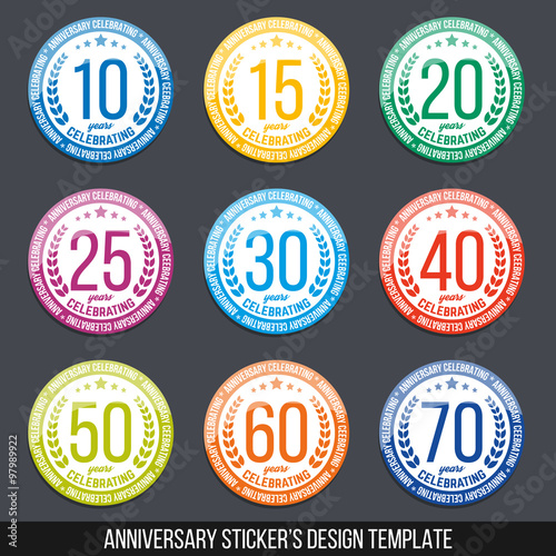 Vector set of anniversary color signs symbols 10 15 20 25 30