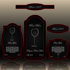 Wine labels collection black and red