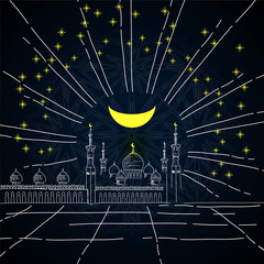 Silhouette of mosque with minarets, stars and Crescent on dark sky background - sketch for Islamic holiday. Concept for celebration for Mawlid birthday of prophet Muhammad, Ramadan Kareem, Eid Mubarak