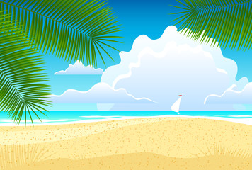 Sea landscape with palm trees. Vector illustration