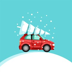 Small red car with christmas tree on the top. Preparing for Christmas. Vector Illustration.